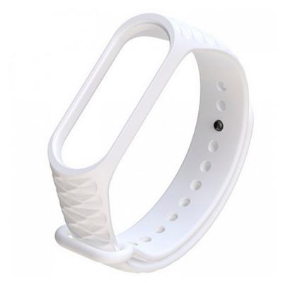 Силиконовый ремешок для Xiaomi Mi Band 3 Ребристый Белый
