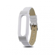 Кожаный браслет для Xiaomi Mi Band 3 White
