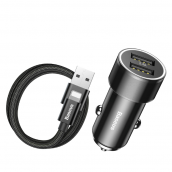 Автомобильное зарядное устройство Baseus ССNL-01 2USB 3.4A + кабель Lighting