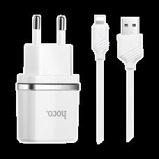 Сетевое зарядное устройство 2 в 1 Hoco C11, 1А, кабель Lightning (белый)