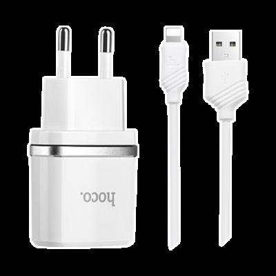 Сетевое зарядное устройство 2 в 1 Hoco C12 для iPhone (Белый)