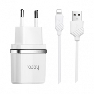Сетевой адаптер HOCO C12 Dual USB Charger 2.4A + кабель micro usb (Белый)