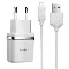 Сетевое зарядное устройство 2 в 1 Hoco C12 для micro USB (Белый)