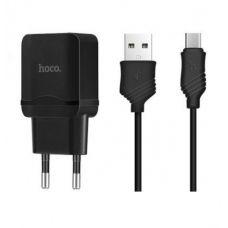 Сетевой адаптер HOCO C22A ONE USB Charger 2.4A + кабель Micro usb (Черный)