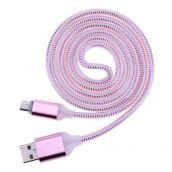 Кабель microUSB Led Pink