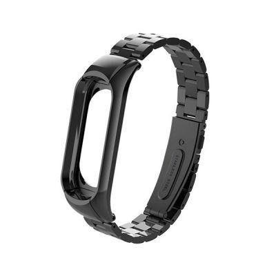 Сменный браслет для Mi Band 4 металлический (Черный)
