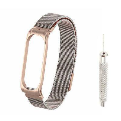 Сменный браслет для Mi Band 4 миланская петля с иглой (Розовое золото)