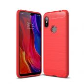 Карбоновый чехол для Xiaomi Redmi Note 6 pro Красынй